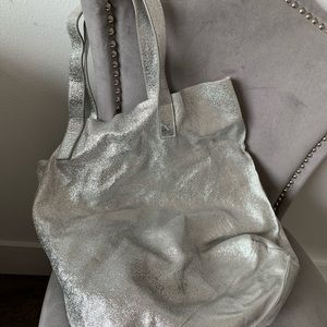 Street Level Slouchy Metallic Tote with travel bag